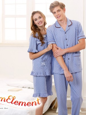 CHW001MF Classic Dotted Couple Home Wear cum Sleepwear Set 02