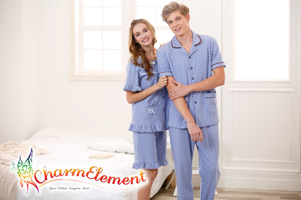 CHW001MF Classic Dotted Couple Home Wear cum Sleepwear Set