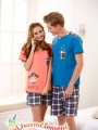 CHW002MF Bear Checkered Couple Home Wear Set 01