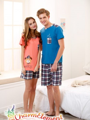 CHW002MF Bear Checkered Couple Home Wear Set 02