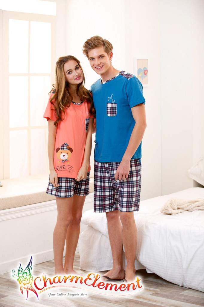 CHW002MF Bear Checkered Couple Home Wear Set