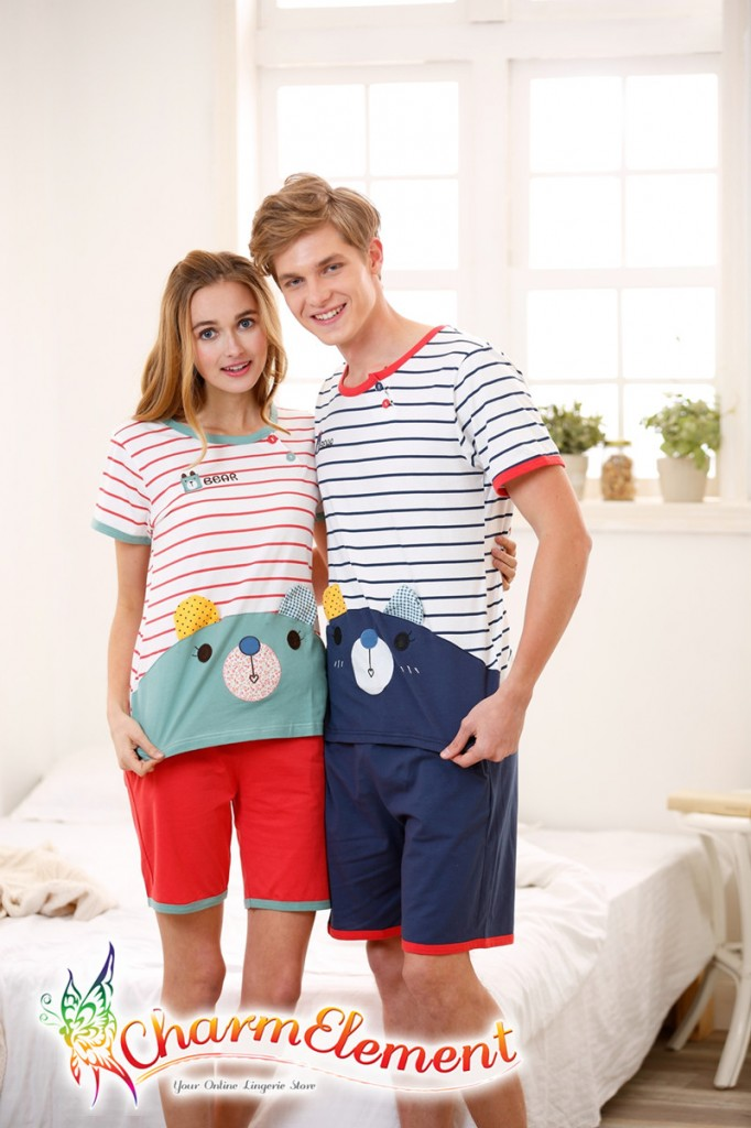 CHW003MF Sweet Bear Couple Home Wear Set