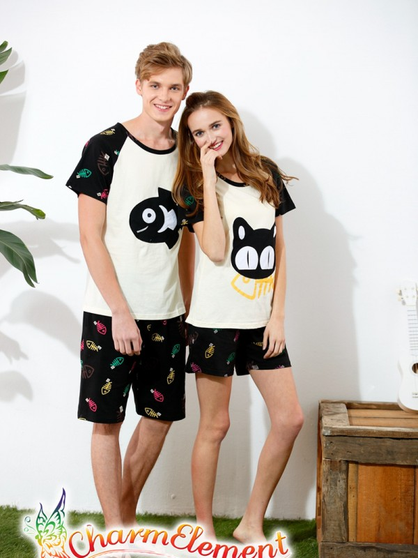 CHW004MF Cat and Fish Couple Home Wear Set 01
