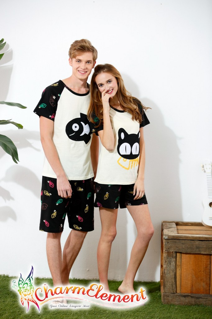 CHW004MF Cat and Fish Couple Home Wear Set