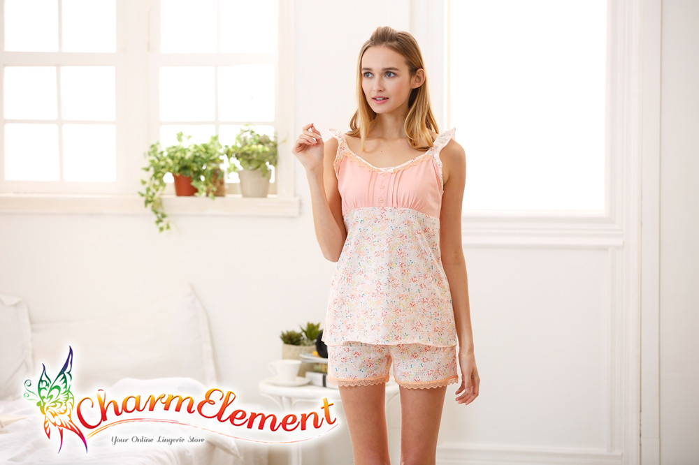 FHW001 Woman Sweet Camisole Home Wear cum Sleepwear Set