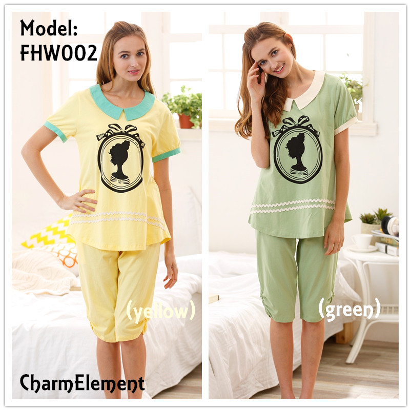 FHW002 Woman Fair Lady Head Print Home Wear Set (2 Colors)