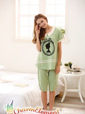 FHW002 Woman Fair Lady Head Print Home Wear Set Green 01