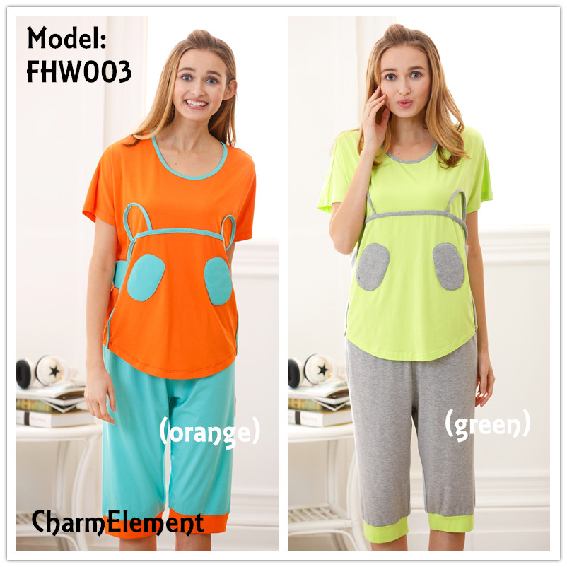 FHW003 Woman Funky Two Tone Sleepwear Set (2 Colors)
