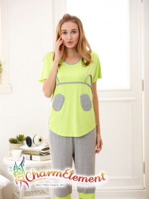 FHW003 Woman Funky Two Tone Sleepwear Set Green 01