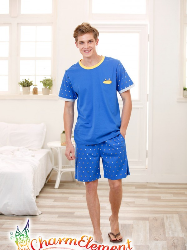 MHW002 Man Bright Blue Home Wear Set 02