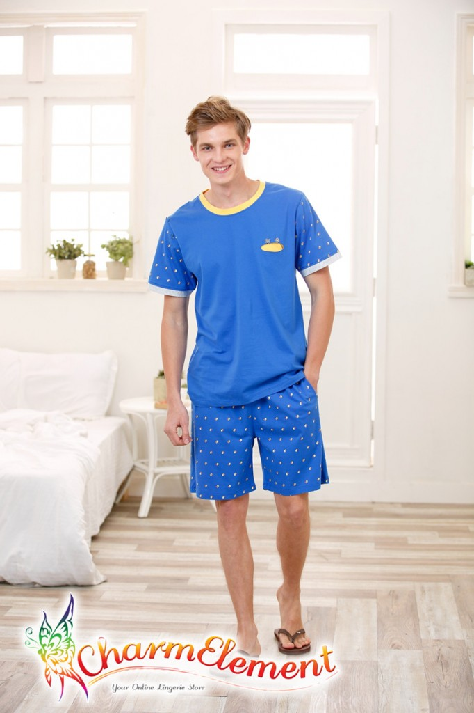 MHW002 Man Bright Blue Home Wear Set