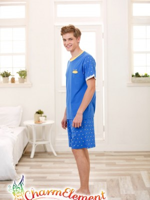 MHW002 Man Bright Blue Home Wear Set 03